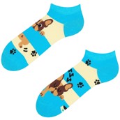Good Mood adult low socks - DOGS & STRIPES, size 35-38