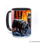 Fire and Ice Wolves Ceramic mug