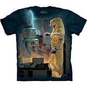 Catzilla vs Robot t-shirt