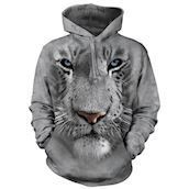 White Tiger Face Adult Hoodie